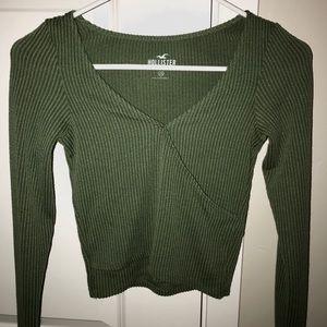 Hollister Green Wrap Long Sleeve Shirt